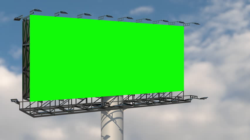 Green screen blank billboard outdoor advertising at blue sky with clouds time lapse background. Space available for advertising ro your message.  | Shutterstock HD Video #1028509178