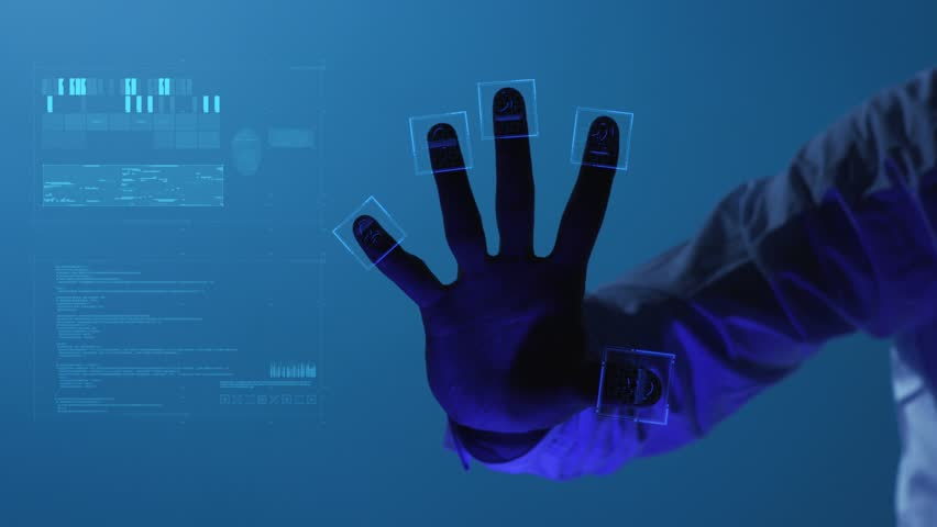 The person clicks on the fingerprint scanner, which is executed in the style of the digital future. The digital world and technology. For digital applications and solutions. Slowmotion. Shot on Arri | Shutterstock HD Video #1028530178
