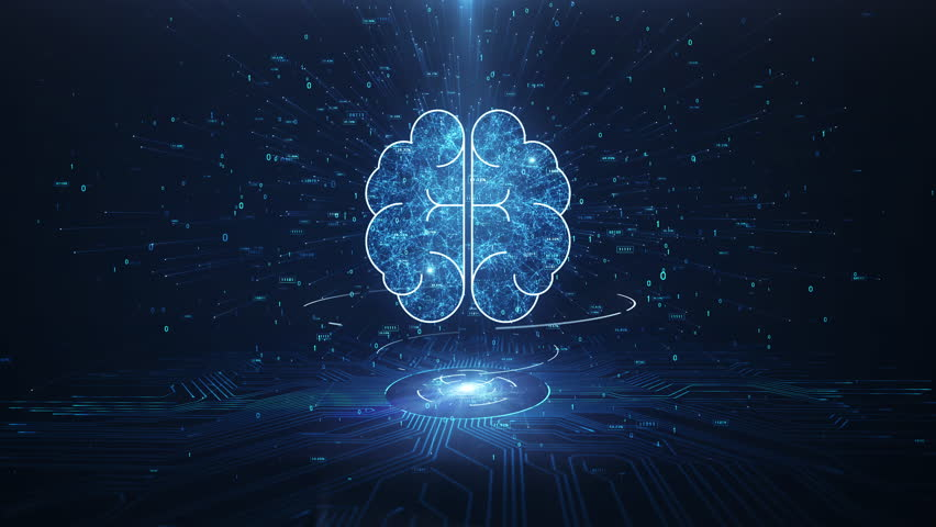 Artificial Intelligence Brain Animation, Big Data Flow Analysis, Deep Learning Modern Technologies Concepts.Neural Connection Visualization. Futuristic Cyber Technology Innovation, Cyber Mind. | Shutterstock HD Video #1028535278