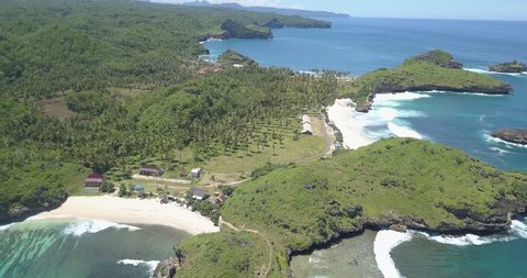 The beauty of the Srau beach in the city of Pacitan, East Java, is recorded from the sky