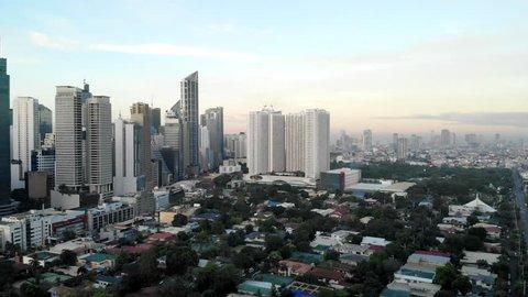 Aerial Panorama, Makati Skyline. Manila, Philippines.