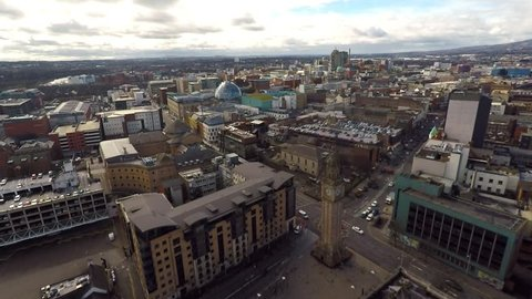 Aerial view of City Centre in Belfast, Northern Ireland. Drone view on buildings from Above.
