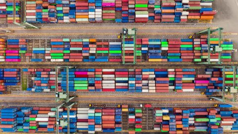 singapore city day time famous container terminal port aerial topdown panorama 4k timelapse