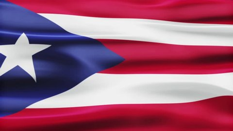 The waving national flag of the Puerto Rico with 23° X rotation zoom in animation