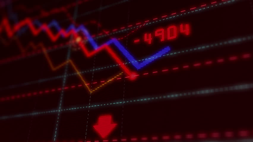 Crisis, recession, business crash, markets down, economic decline and stock collapse concept. Red dynamic downward trend chart. 3d screen stylized animation. | Shutterstock HD Video #1028902838