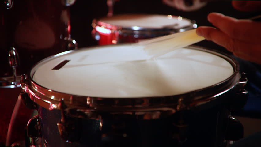 Drummer, jazz lesson classic grip of brushes drumsticks on a snare  a rehearsal studio, low key, close up | Shutterstock HD Video #1028916308