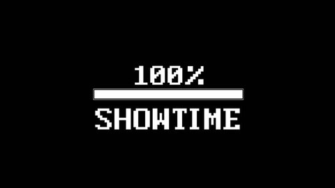 SHOWTIME Glitch Text Animation and Loading Bar, Rendering, Background, with Alpha Channel, Loop, 4k
