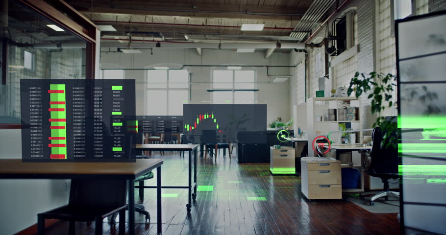Corporate data visualization of stock market financial business graphs and charts in high tech 5g connected office.