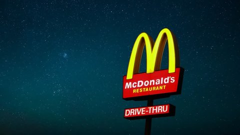 Mcdonald's Sign, Stars Timelapse at Night, USA on 6 May 2019