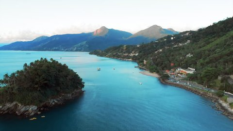 Aerial: Gorgeous Tropical Blue Water in Archipelago in Ilhabela, Brazil