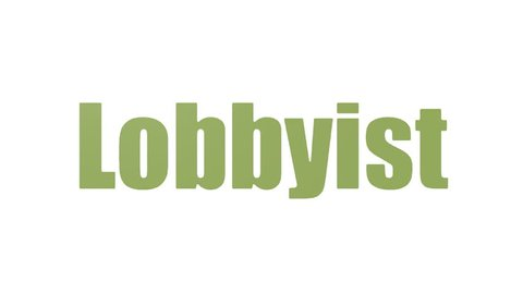 Lobbyist Word Cloud Animated Isolated On White