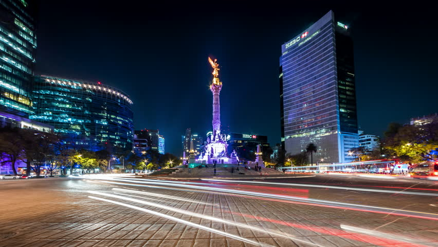 Mexico City, Mexico - January 27, 2019: Night time lapse view of the Angel of Independence in Mexico City, Mexico.