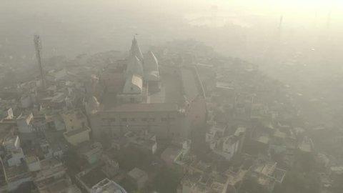 Nandagaon main temple, Uttar Pradesh, India, aerial 4k ungraded/flat