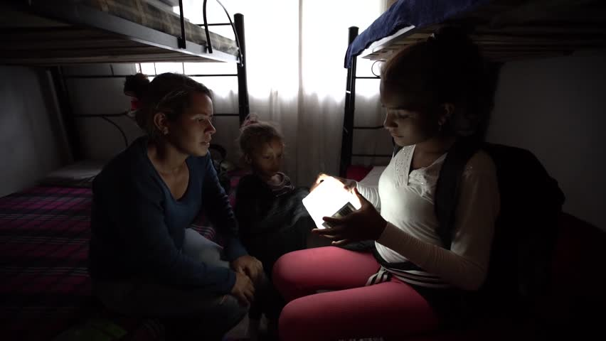 Cucuta/Venezuela - May 1, 2019: Venezuelan migrant mom and daughter on bunkbeds | Shutterstock HD Video #1029136748
