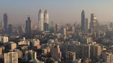 Nice day in Mumbai, India aerial view, 4k drone footage
