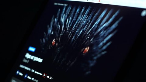 Sofia, bulgaria, may 2019: watching tv series on hbo go streaming platform