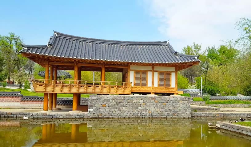 Korean architecture - a wooden pagoda in traditional Korean style, korean gazebo in the background and a pond with white geese | Shutterstock HD Video #1029220868