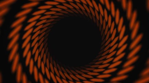 Abstract animation of hypnotizing black and orange striped tunnel on the black background. Animation. Colorful animation