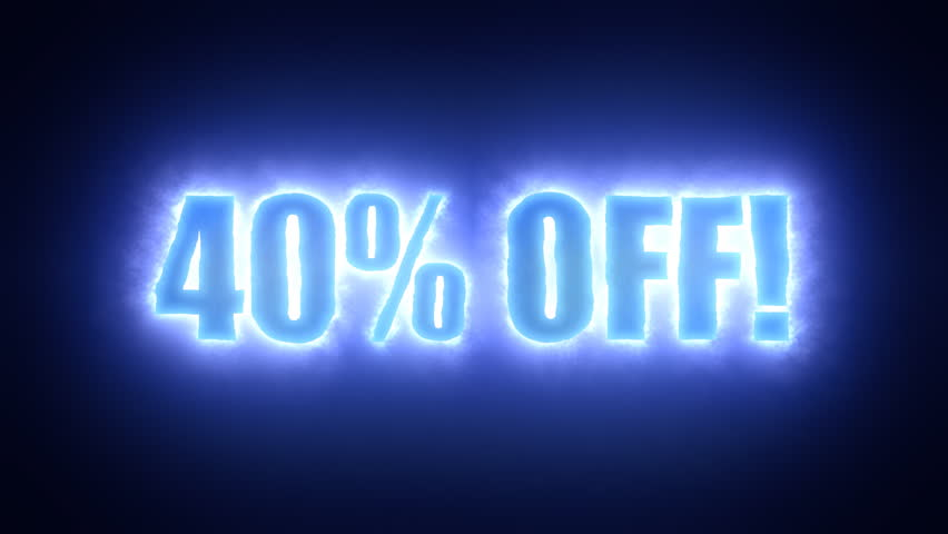 The text Forty percent off, surrounded by an energetic cloud of electricity. Blue tones, black background.