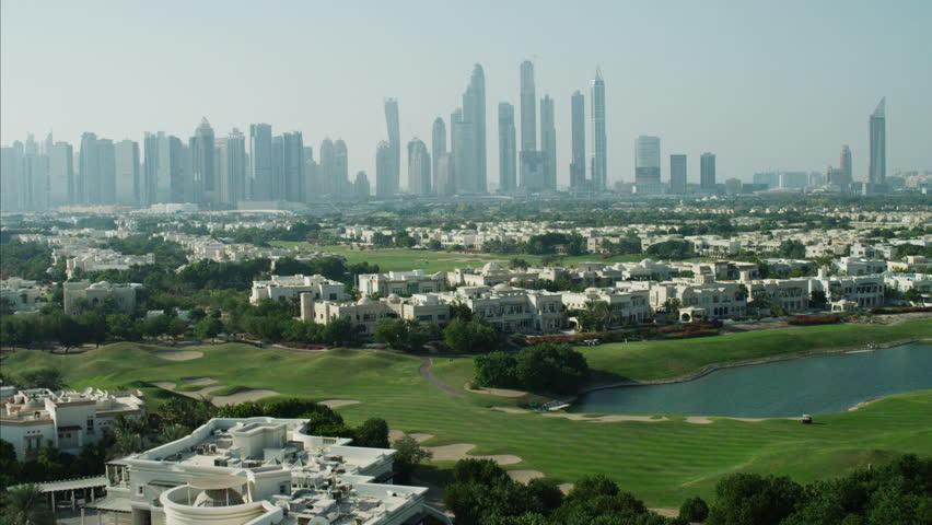 Aerial Dubai luxury homes Emirates Hills Golf Persian Gulf UAE   Shutterstock HD Video #10293278