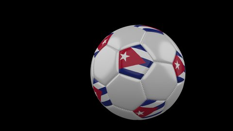 Soccer ball with the flag of Cuba flies past the camera, slow motion, 4k footage with alpha channel