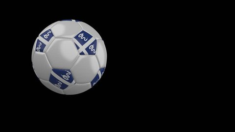 Soccer ball with the flag of Martinique flies past the camera, slow motion, 4k footage with alpha channel