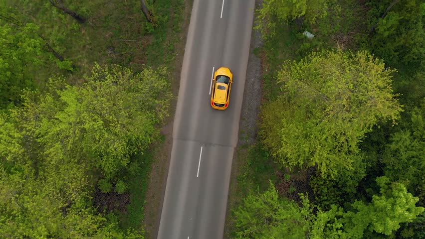 A yellow sports car moves along a beautiful alley with trees and bushes #1029337178