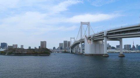 Rainbow bridge in Odaiba, Tokyo, Japan