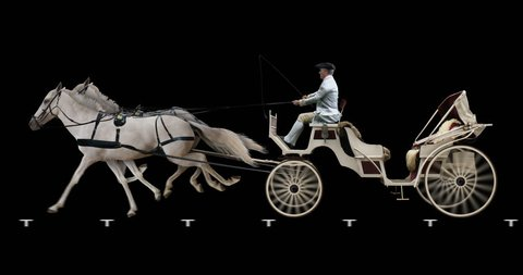 White horse-drawn carriage. Cyclic animation in two versions: with and without a coachman. Alpha channel is included. Can also use as a silhouette.