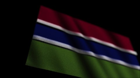 Republic of The Gambia flag animation on black background
