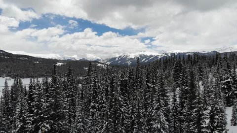 Winter landscape of Colorado mountains covered in snow, arial
