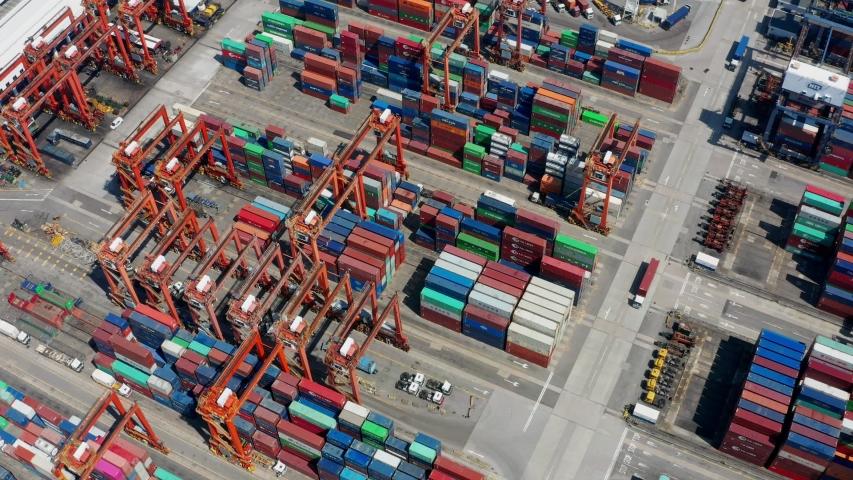 Kwai Chung, Hong Kong 15 May 2019:  Top view of Kwai Chung Cargo Terminal in Hong Kong | Shutterstock HD Video #1029512588