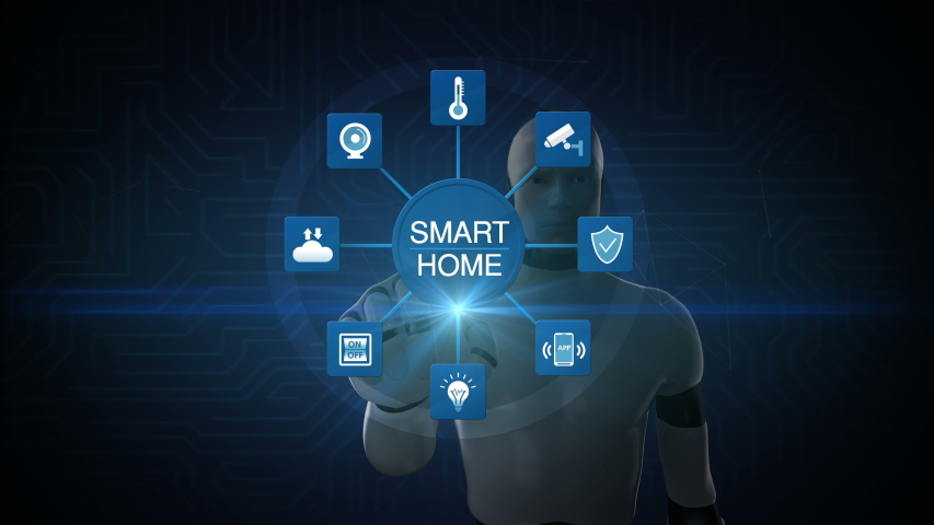 Robot, cyborg touching smart home, icon connected various internet of things home appliances icon. 4K animation.1. | Shutterstock HD Video #1029515288