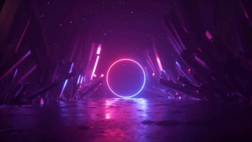 3d abstract background, neon light ring shape, mysterious cosmic landscape, flight forward through corridor of rocks, virtual reality, outer space, celestial panorama, extraterrestrial anomaly