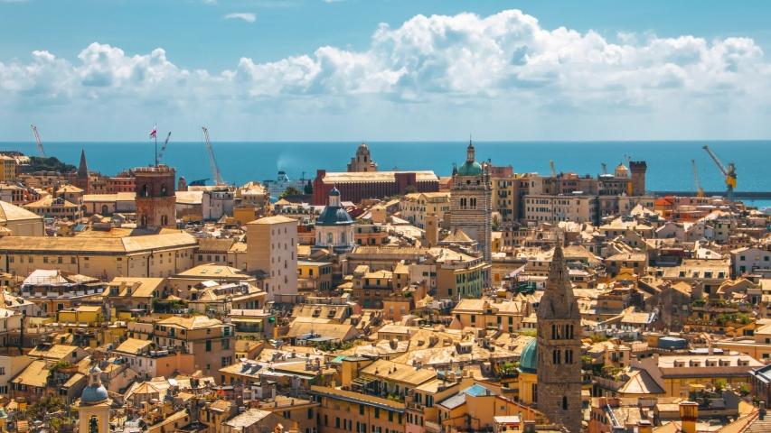 Landscape of the Beautiful Medieval Italian City of Genoa | Shutterstock HD Video #1029560468