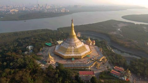 "Mumbai, India, ""Global Pagoda"" temple, 4k aerial drone sunset footage"