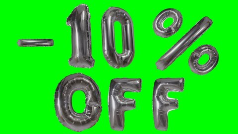 Discount 10 ten percent off silver balloon sale banner floating on green screen shopping offer