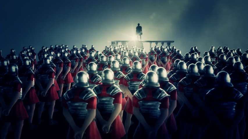 Roman Centurion Gives a Speech in Front of a Legion | Shutterstock HD Video #1029602468