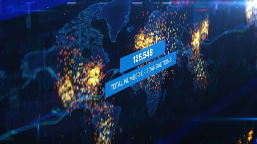World map showing growing number of transactions, sales countdown, growth. Financial report, statistics on screen
