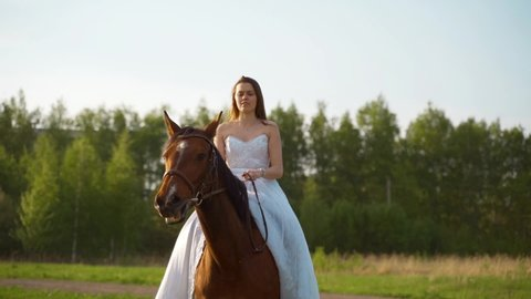 Girl in a white dress on a horse. Bride riding a horse in the field.