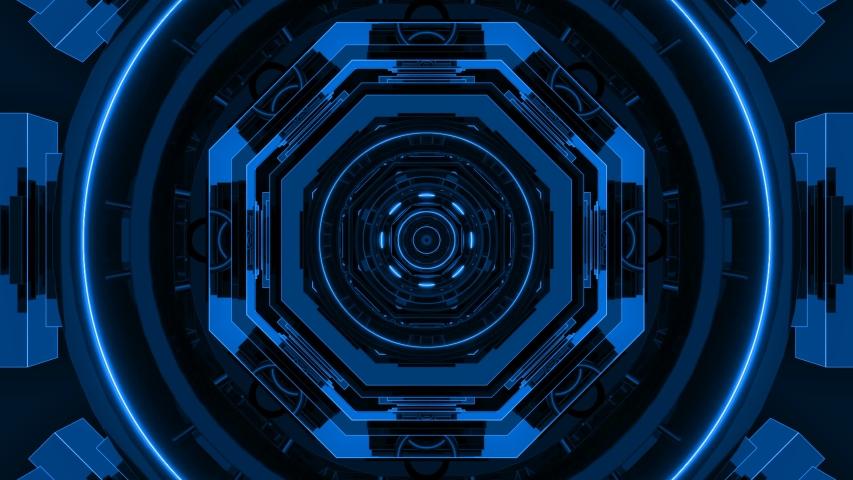 Blue Abstract Loop Night Club Background Corridor