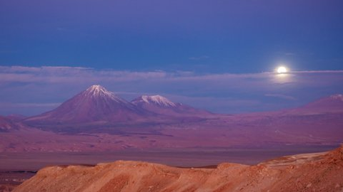 Detail of Moonrise close to Licancabur high volcano in the Andes, time-lapse at sunset in Atacama