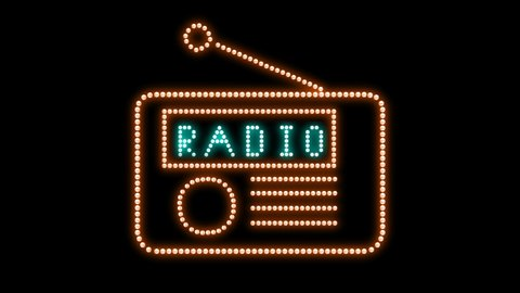 Radio Text sign Loop animation bulbs LED pixels, light flashing, blinking lights advertising banner. Light Text. Digital Display. More TEXTS are available in my portfolio.  With old retro Radio form.