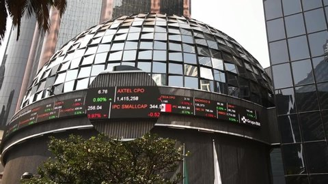Mexico,Mexico City-18 January 2017: the benchmark stock market index for the Mexico City Stock Exchange,the exchange rate,the stock market,the stock market and the world economy,lens effect on display
