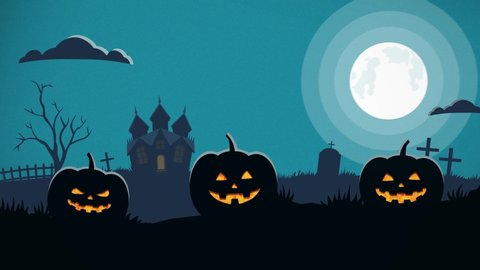 Happy Halloween background animation with pumpkins, bats and scary castle on night graveyard.