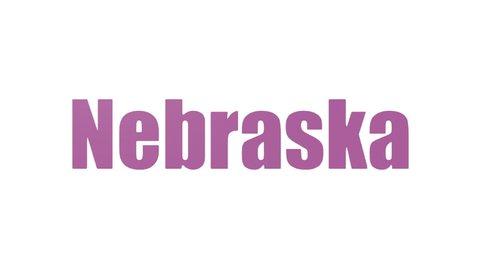 Nebraska Tag Cloud Animated Isolated