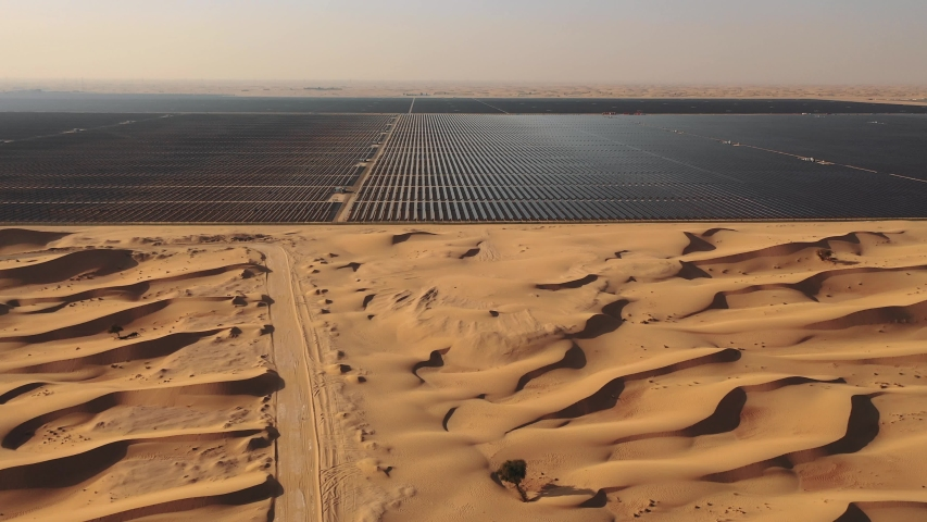 AERIAL. Top view of huge solar energy plant in the desert. | Shutterstock HD Video #1029841088