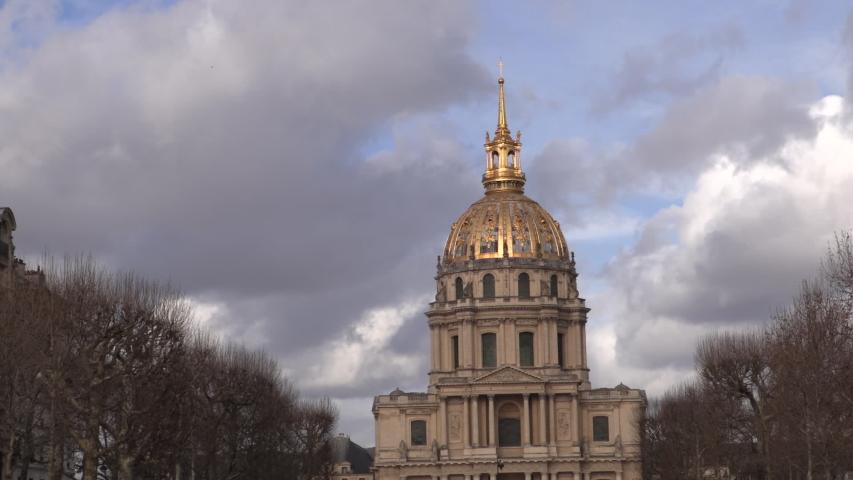 Golden dome of the Invalides church Paris | Shutterstock HD Video #1029854918