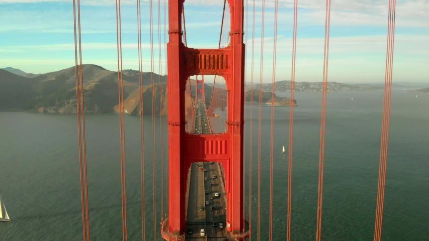 Aerial of the Golden Gate bridge in San Francisco, CA.   Shutterstock HD Video #1029961868