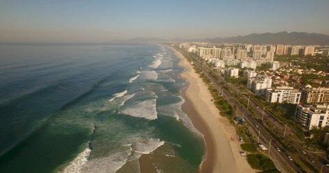 Very high drone Barra da Tijuca Beach, Rio de Janeiro - Brazil.